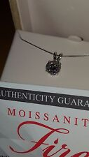 REDUCED- 2.20 ctw C&C-Round Moissanite Solitaire Pendant 14K Wh Gold w/Chain