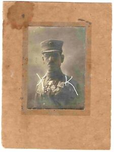 GREECE HIGH RANK OFFICER WITH MANY MEDALS  CARTON MOUNTED BIG SIZE PHOTO.