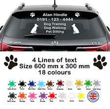 Personalised Dog / Cat Business Rear Window Car or Van, Vinyl Sticker, Decal