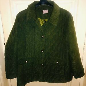 Ladies EASTEX Green Quilted Jacket Coat Size UK 20
