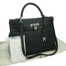 Authentic HERMES KELLY 35 RETOURNE 2way Hand Bag Black Clemence SHW GOOD JT06191