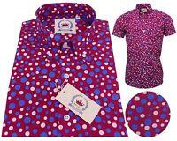 Relco Men's Burgundy Purple White & Blue Dots Button Down Short Sleeved Shirt