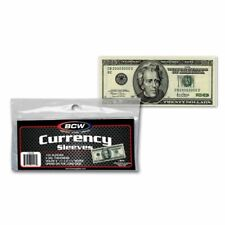 100 BCW Sleeves 2mil Acid Regular Dollar Bill Banknote Thin Sleeve