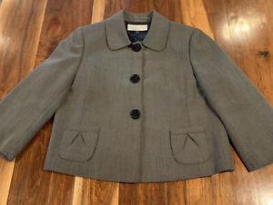 TAHARI Petite Womens Dress Jacket Snap Up W/Pockets Black/White Size 10P