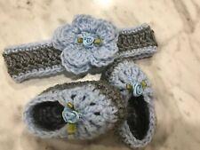 Crochet handmade Baby Girl Headband Booties Set newborn 0-3 Months Blue Grey