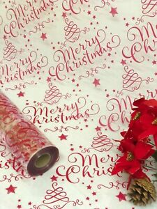 Merry Christmas Red Cellophane Wrapping Paper | Wedding Birthday Hampers Wrap