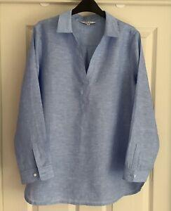 NRBY Clothing Ladies Chrissie Pale Blue Linen Shirt / Popover / Tunic - Medium