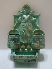 Old Cast Iron Dutch Water Carrying Girl Kitchen Match Holder Turquoise.Gold