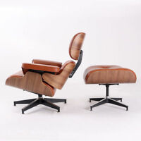 Eames Style Chair & Ottoman 100% Top Grain Italian Leather Walnut Wood genuine