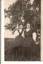 Pretty Big Bow Apron Dresses Country Girls Vintage 1910s Real Photo Postcard