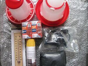 Chick Brooder Starter Kit .1.5 Litre Drinker & 1 KG Feeder, 2 bulbs, lamp, termo