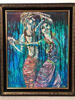 🔥 Antique Mid Century Modern Impressionist Orientalist Asian Oil Painting