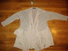 NEW ZUZA BART sz L/XL beige smooth/ribbed knit 100% linen cardigan/jacket