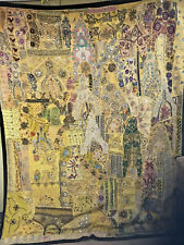 More details for very large vintage rajasthan indian handmade patchwork wall hanging mirrored