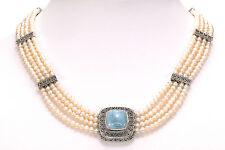 "Sandra Singh Multi-strand Gemstone Sterling Silver 18"" Long Necklace"