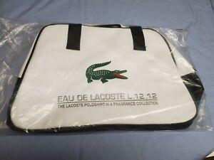 Eau de Lacoste L.12.12 Canvas Zipper Bag White Duffel Travel Gym Yoga Logo Carry