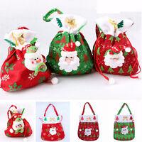 Christmas Santa Snowman Candy Gift Bag Xmas Sweet Sack Stocks Filler Party Decor