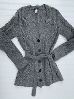 J Crew Cardigan Small Gray Wool Cashmere Blend Belted Sweater Cable Knit