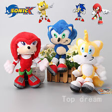 Sonic The Hedgehog Plush Knuckles Sliver Tails Stuffed Teddy Bear Soft Toy Anime