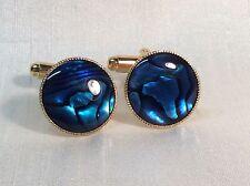 Azul Abalone Gemelos, (redondas, 15mm), en un acabado de oro.
