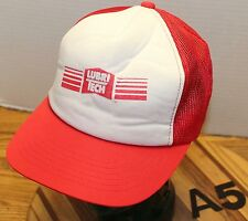 VINTAGE LUBRI TECH TRUCKERS HAT RED/WHITE SNAPBACK MESH BACK GOOD CONDITION A5