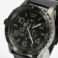 NIXON A124-001 A124001 Watch Mens 51-30 CHRONO Leather All Black AUTHENTIC NEW