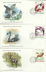 ROMANIA 1977 WORLD WILDLIFE FUND ILLUSTRATED FIRST DAY COVER SET