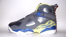 "NEW Air Jordan VIII ""Laney"" 580528-038 GS 8 Cool Grey Electric Yellow Blue Kids"