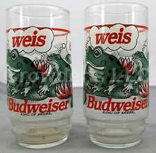 Set of 2 Vintage Budweiser King of Beers Frog Glasses 1995 Anheuser-Busch