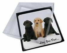 4x Labrador Puppies 'Love You Dad' Picture Table Coasters Set in Gift B, DAD-70C