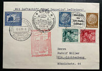1939 Frankfurt Germany Graf Zeppelin 2 Airmail postcard Cover To Berlin