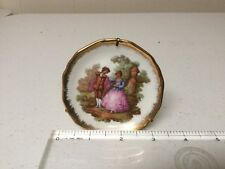old Limoges France mini porcelain plate, miniature Fragonard