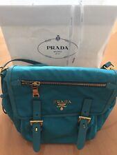 PRADA Tessuto Nylon Saffiano leather  Messenger Bag Turchese