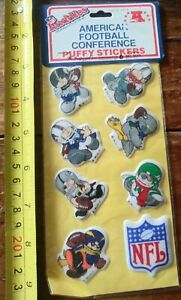 RARE NEW 1980s vintage huddles American Footbal Conference puffy stickers kids
