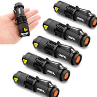 6/5/2pc Q5 LED Flashlight Torch 7W 1200LM Adjustable Focus Zoom Light Lamp