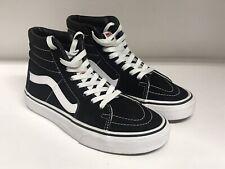 Vans SK8-Hi Skateboard Shoes Suede/Canvas Black/White Mens 4.5---Womens 6