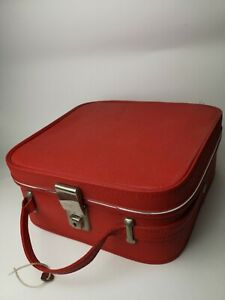 60s vintage red vanity case weekend train case Mod Scooter With Key