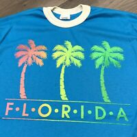 Florida Vintage Ringer T Shirt Adult M Blue White Palm Trees Vacation 90s USA