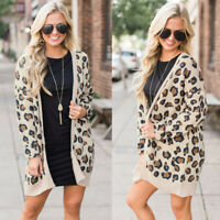 US Women's Cardigan Sweater Leopard Print Open Front Long Sleeve Loose Coat Tops