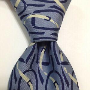 GUCCI 100% Silk Necktie ITALY Luxury Designer EQUESTRIAN Blue/White Short EUC