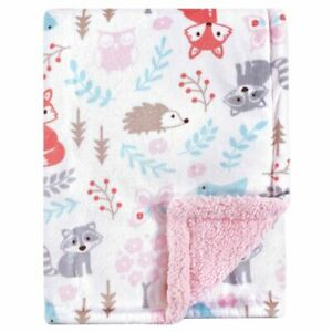 Hudson Baby Mink Blanket with Sherpa Backing, Girl Woodland
