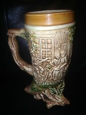 German Beer Stein Footed Ceramic Cornicopia Lieb und Lied Love and Song Japan 7""