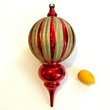 """X Large Hanging Christmas Decoration 17"""" Red & Glitter Gold Traditional Ornament"""