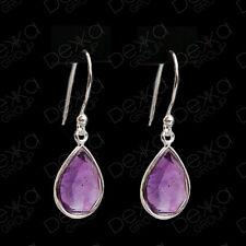 925 Sterling Silver Green Amethyst Teardrop Dangle Earrings Gemstones Tear Drop
