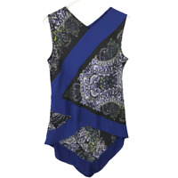 BCBG Maxazria Asymmetric Tunic Size M Paisley Deep Royal Sleeveless Blouse Top