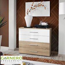 Cassettiera FLORIDA corpo quercia e cassetti quercia/bianchi design casa arredo