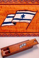 1940 Palestine Wooden Zionist Pencil Case Jewish Israel Flag Judaica David Star