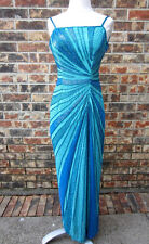 BEAUTIFUL MIA BELLA HEAVY SEQUIN BEADED BLUE LONG DRESS BUILT IN BRA SIZE SMALL