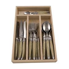 LAGUIOLE basic Besteck-Set, 24-tlg., Edelstahl, elfenbeinf. Griffe, Holzkassette