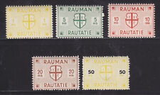 Finland HS 20/25 MLH. 1945 Rauma Railway Stamps, 5 diff